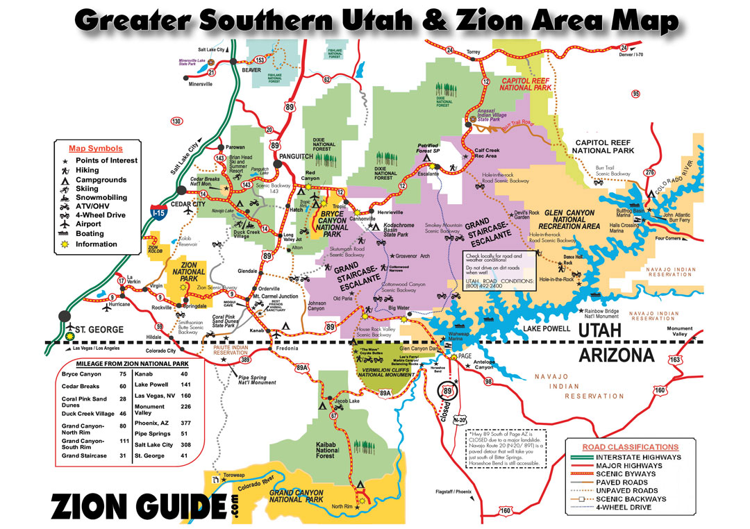 Southern Utah & Zion Area Map | Utah State & National Parks Guide