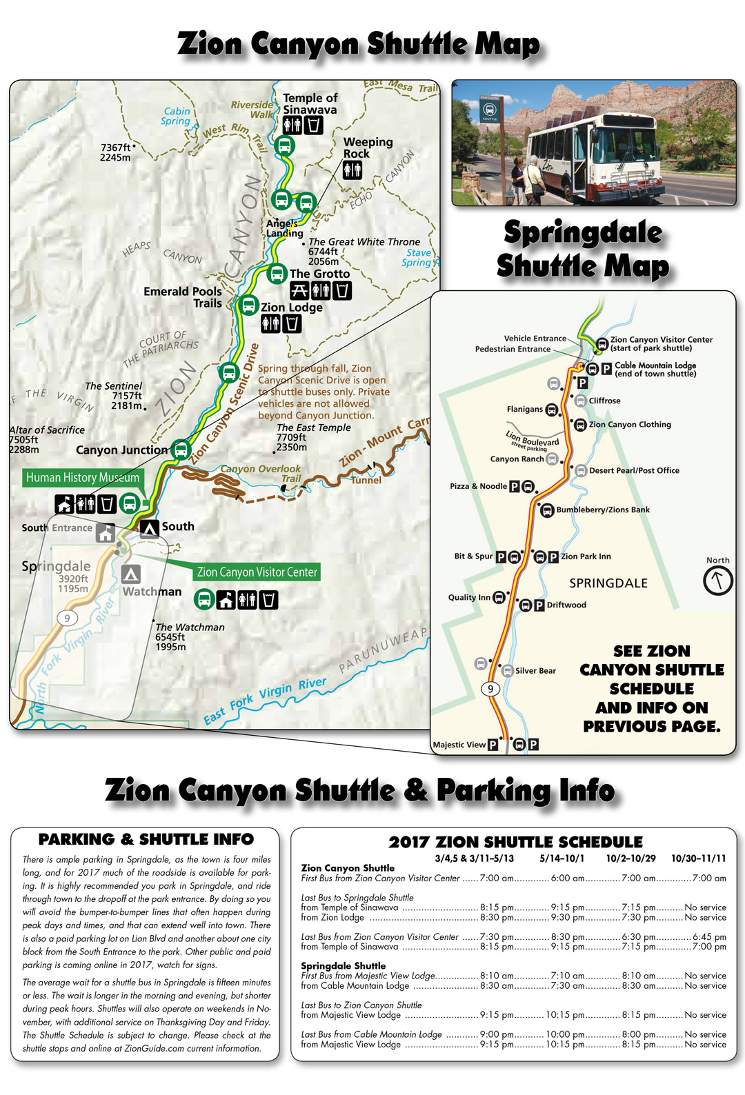 Zion National Park Shuttle Schedule Zion Canyon Springdale - Map of zion national park